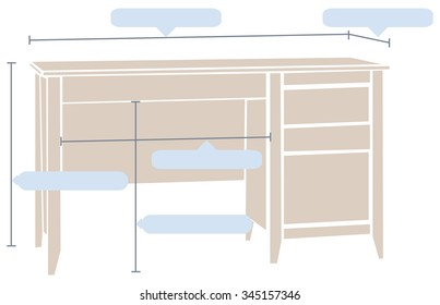 Office table with the basic dimensions. Vector illustration.