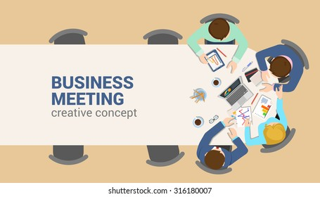 Office table top view business meeting flat web infographic concept vector. Staff table report analytics working tablet laptop empty background. Brainstorm report planning. Creative people collection.