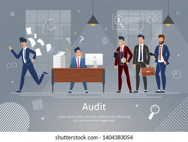 Office Team Banner Vector Illustration. Businessmen Cheking Work of Man. Stressed Man at Workplace with Computer and Documents Flying away. Auditor with Magnifying Glass during Examination of Report.