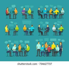 Office team business people big set discussing meeting sit desk working. Brainstorming talking on blue background