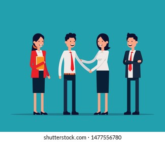 Office team Shaking hans or success agreement. Vector illustration business office concept, Familiarize, Introduce, Happy flat cartoon character design.