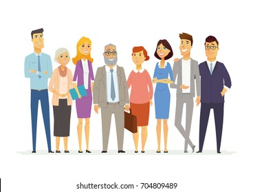 Office Team - vector cartoon people characters illustration. Business scene with senior, young friendly female, male members of company staff. A group of cartoon characters standing together, smiling.