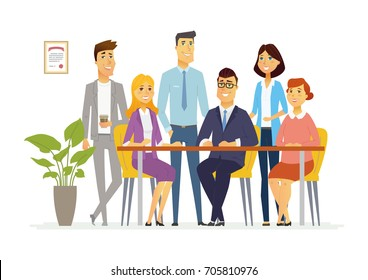 Office Team - vector cartoon people characters illustration. Business scene with young friendly female, male members of company staff. A group of cartoon characters sitting at desk, standing.