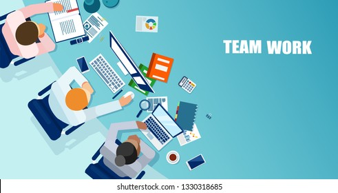 Office teamwork concept. Vector of business people having a meeting and brainstorming a strategy
