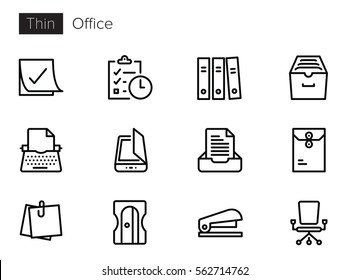 Office Thin line Vector Icons set