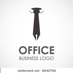 Office tie pen business abstract vector logo design template professional company icon corporate consultant symbol concept