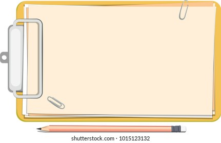 Office tools: a yellow clipboard with papers and a pencil