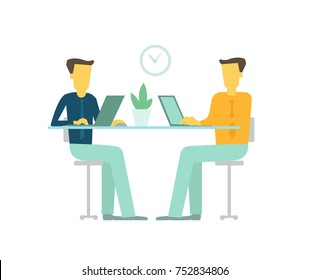 Office two people team business people talking sit desk working. Flat Vector Illustration