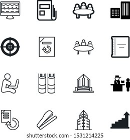 office vector icon set such as: statistics, progress, learning, library, global, competition, pen, hard, analyzing, screen, spiral, growth, diary, sit, troubleshooting, monitor, technology, statistic