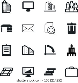 office vector icon set such as: email, progress, accessory, device, wide, garbage, checkmark, crisis, money, trend, protection, zoom, financial, rubbish, award, cost, achievement, victory, bucket