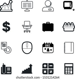 office vector icon set such as: buy, monoblock, colleagues, copies, comfortable, desktop, electronic, callcenter, group, date, calculate, customer, dollar, workplace, agent, suitcase, documents