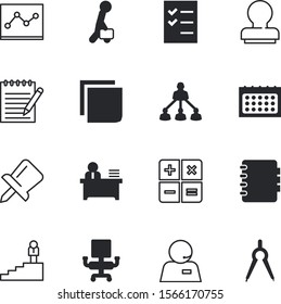 office vector icon set such as: tack, career, hierarchy, headphone, electronic, sitting, up, attach, analysis, path, tools, sit, headset, credit, closeup, chair, draw, accounting, form, validate