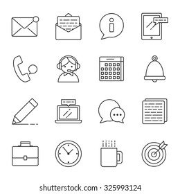 Office vector icons set modern line style