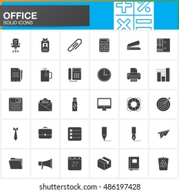 Office vector icons set, modern solid symbol collection, pictogram pack isolated on white, logo illustration