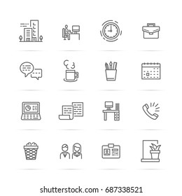 office vector line icons, minimal pictogram design, editable stroke for any resolution