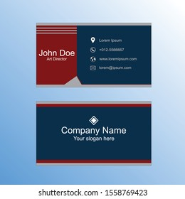 Office Visiting Abstract card, Creative blue Corporate Abstract.Business card, Identity card. Red visiting card.