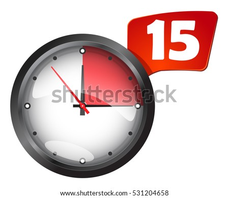 office wall clock timer 15 minutes stock vector royalty free
