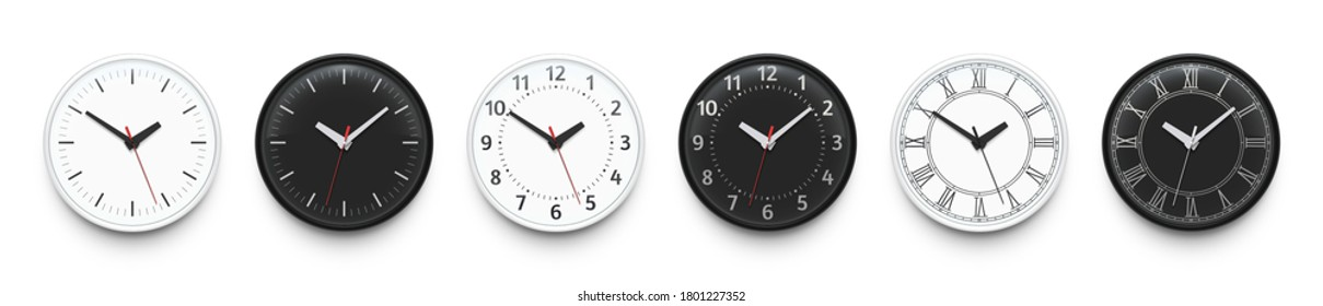 Office wall clocks. Watchface dial without numbers, with old Roman and Arabic numerals. Black and white circle clock realistic isolated vector illustration set