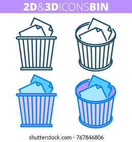 The office waste bin. Flat and isometric 3d outline icon set. The trash can, wastebasket with paper sheets line pictograms. Vector linear infographic element for web design, social media, presentation