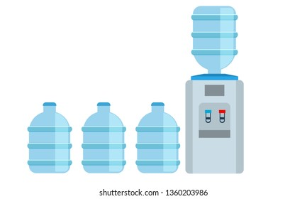 Office water cooler dispenser icon with big water bottles. Vector illustration.