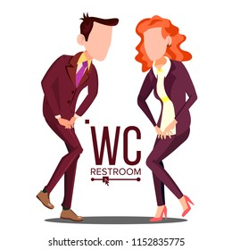 Office WC Sign Vector. Female, Male. Bathroom, Restroom Label. Isolated Cartoon Illustration