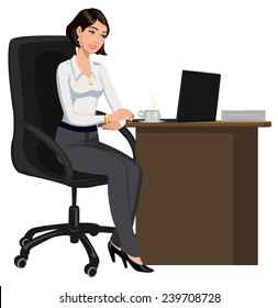 office woman behind a Desk with a laptop