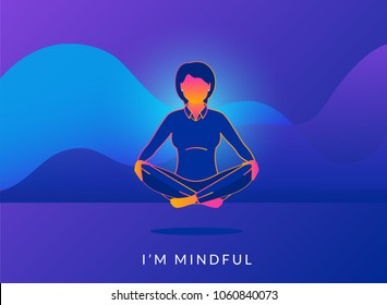 Office woman sitting in calm lotus pose and relaxing with analytics graphs behind. Gradient line vector illustration of young people meditating and thinking about mindfulness after hard working day