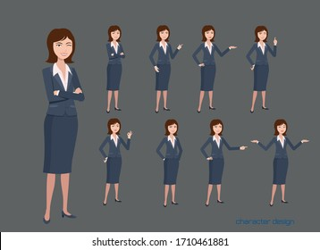 office woman worker character vector design presentation in various action