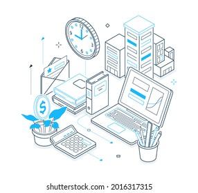 Office work - black and blue isometric line illustration