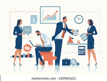 Office Work. The business team is working in the office. Business concept vector illustration.