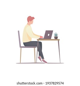 Office work concept. A person works in the office. Colored flat vector illustration. Isolated on white background.