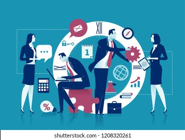 Office Work. Concept - Time. The team is working in front of a big clock face. Business concept vector illustration.