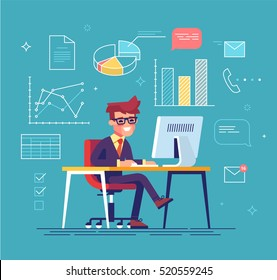 Office work concept vector with handsome businessman working behind his computer with office process icons on background. Data analysis. Graphs and charts. Office routine.