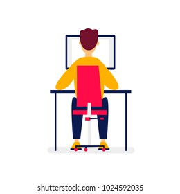 Office work, man working at a computer, business, workplace. Flat illustration in cartoon style. Vector.