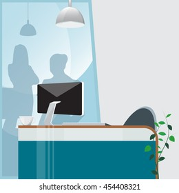 Office Work Place with Computer and Plant. Vector Background