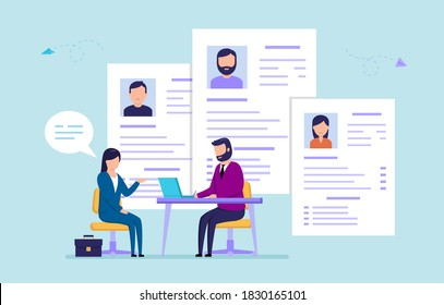 Office Work, Recruitment, HR Service Concept. HR Manager Interviewing Female Worker, Checking Resume Of Candidates, Hiring Right Employees For Company. Cute Cartoon Flat Style Vector Illustration