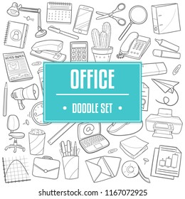Office Work Traditional Doodle Icons Sketch Hand Made Design Vector