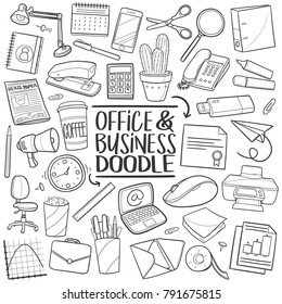 Office Work Traditional Doodle Icons Sketch Hand Made Design Vector Tools Objects Set Collection Sketch