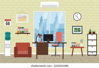 Office Work Workplace Workspace Table Desk Interior Room