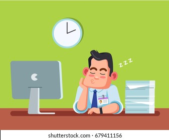 Office worker asleep. Green background. Vector graphics for infographics or web use.