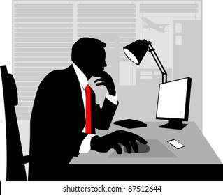 Office worker asleep at his desk;