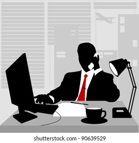 Office worker asleep at his desk; adult;
