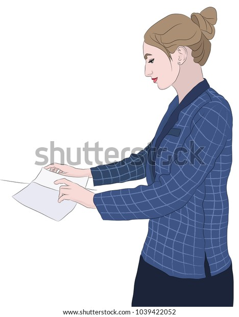 Office worker in blue suit on white background reading document