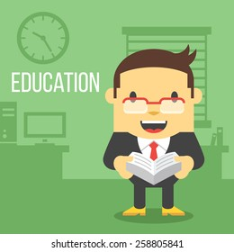 Office worker with book. Education concept. Creative office background. Flat style design vector illustration.