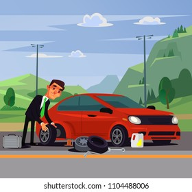 Office worker businessman man character changing fixing car wheel. Transportation road broke problems flat cartoon illustration graphic design concept element
