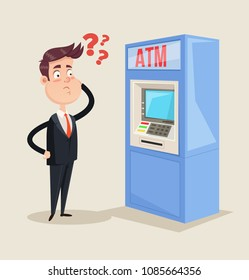Office worker businessman manager person character thinking withdraw money transaction cash currency atm pos terminal credit card. Bank service payment concept. Vector flat isolated graphic design
