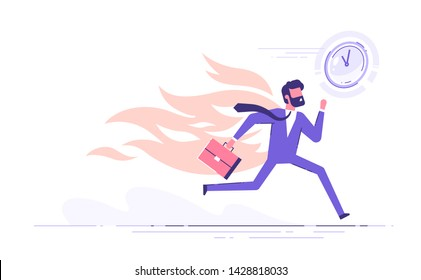 Office worker character running with back on fire. Deadline and rush hour. Vector illustration.