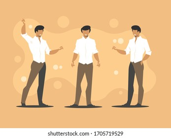 Office worker character. Three men are having a conversation. Businessmen discuss business strategy