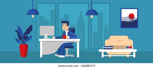Office worker. Design of modern office. Creative office workspace with big window, desktop, modern monitor, furniture in interior.  Vector illustration, flat design. Blue background.