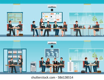 Office worker with office desk and Business meeting or teamwork, brainstorming in flat style vector illustration.